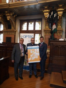Figure 2: CIPTEC Project Coordinator, Prof. Aristotelis Naniopoulos, EMTA president, Mr. Wolfgang Schroll and Administrator of European Passengers' Federation Mr. Stijn Lewyllie photographed with CIPTEC poster